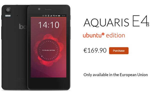 售价170欧元首款Ubuntu手机欧洲上市