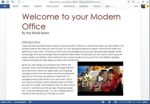 Word2013支持直接插入播放网络视频 三联教程