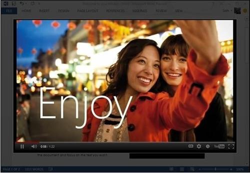Word2013支持直接插入播放网络视频