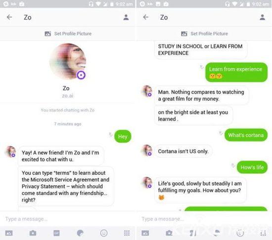 微软发布全新人工智能聊天机器人Zo 语言很规范