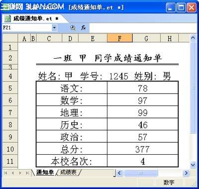 图2 成绩通知单