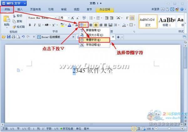 WPS文字带圈文字输入方法