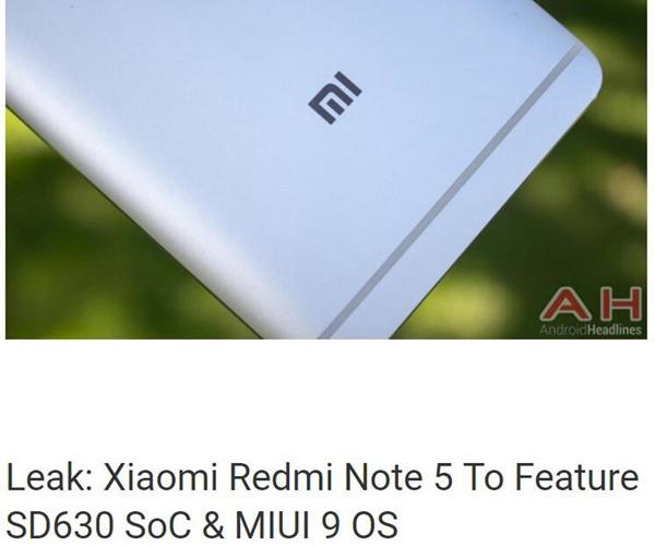 红米Note5配置曝光:骁龙630+MIUI9系统