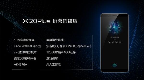 vivo X20Plus屏幕指纹版发布:售价3598元