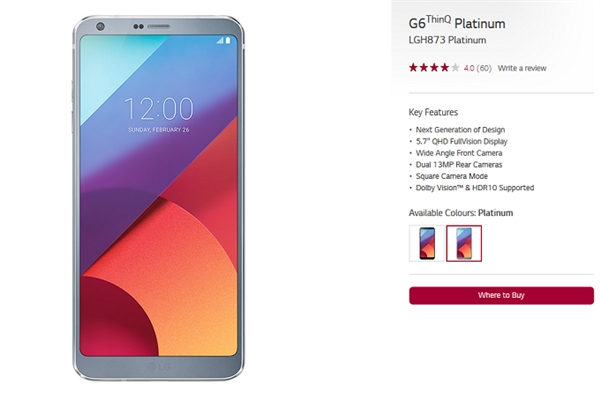 LG 2017年旗舰改名:G6 ThinQ