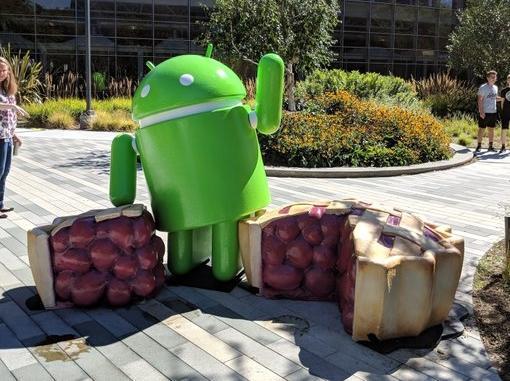 """谷歌总部落成Android 9.0""""馅饼机器人""""雕塑"""