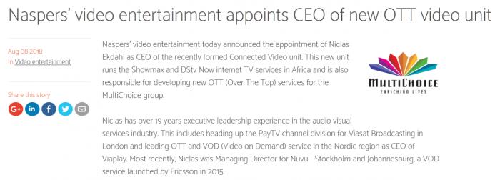 腾讯大股东Naspers成立OTT视频部门 迎战Netflix