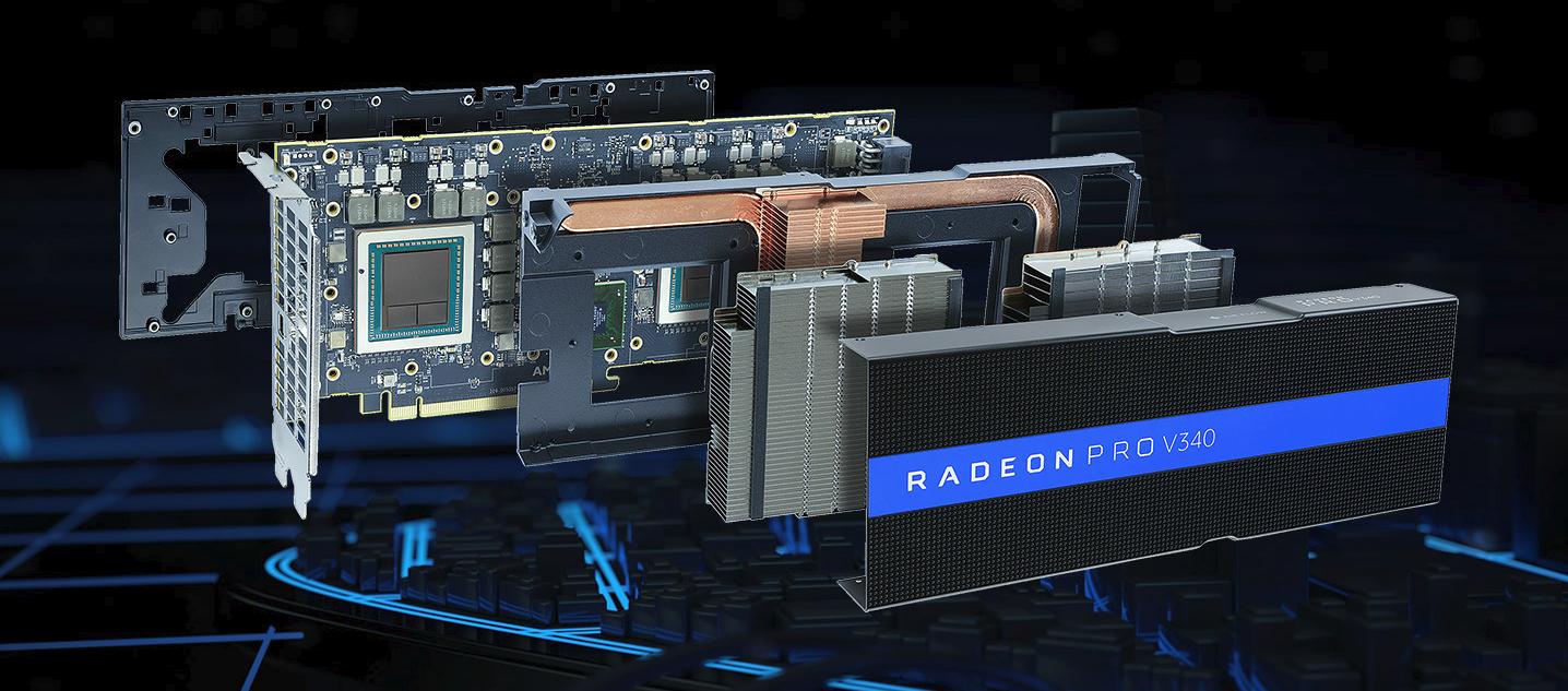 AMD发布双芯Vega专业显卡V340,集成32GB ECC HBM2显存