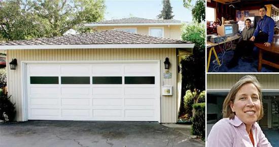 (左边是谷歌当年成立时的车库办公室,右上角是当时的两名创始人,右下角是沃西基)