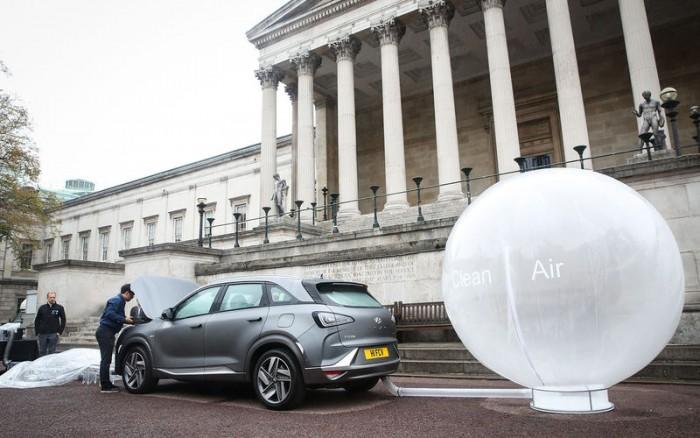 现代氢能SUV亮相伦敦街头演示净化空气 可过滤掉99.9%污染物