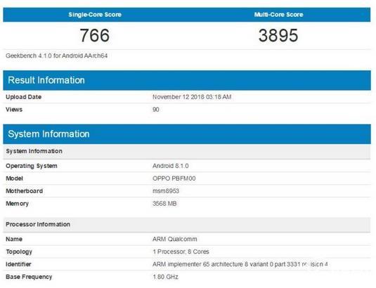 OPPO A7跑分有多少?OPPO A7(骁龙450)跑分性能测试