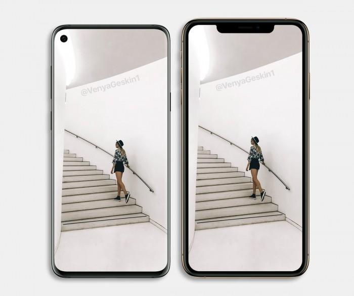 三星S10外形渲染图曝光:打孔全面屏 对比iPhoneXS谁好看?